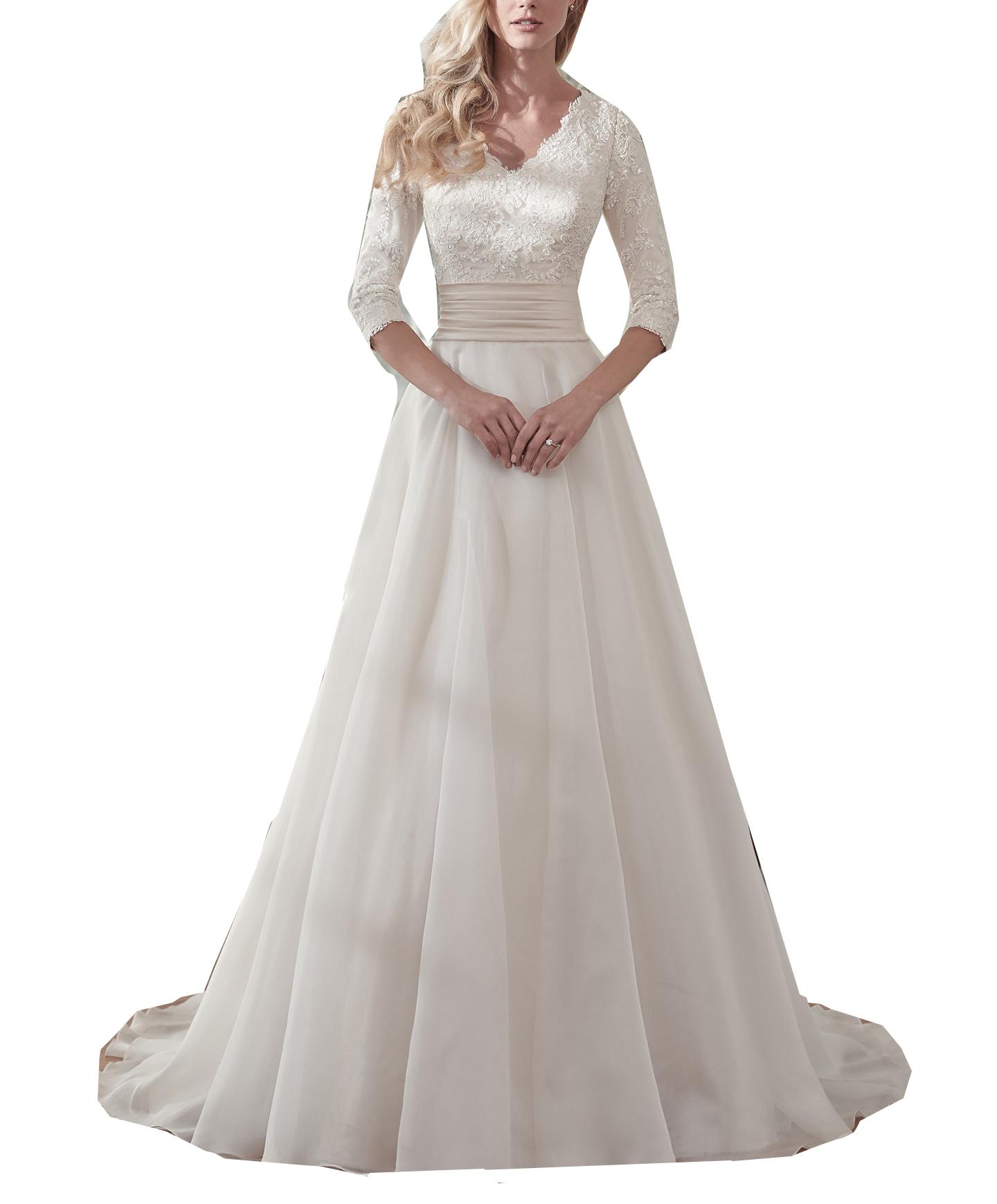 Cheap 3 4 Sleeve Wedding Dresses: Discount Modest 3/4 Sleeve Lace Wedding Dress A Line Sweep