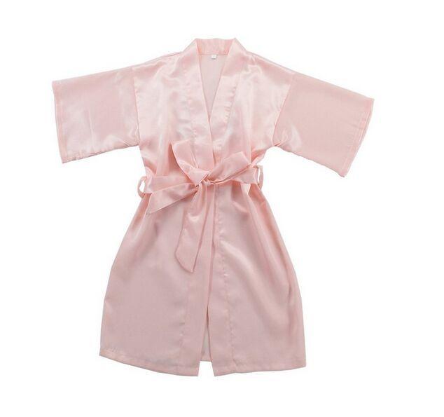 Bambini Satin Rayon Solid Kimono Robe Accappatoio Bambini Camicia da notte la festa di compleanno di Spa