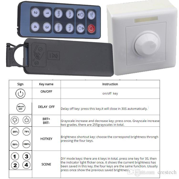 Gradateur télécommande infrarouge DC 12V 24V 8A IR Variateur de lumière à LED pour 3528 2835 5050 5730 led light Dimmer