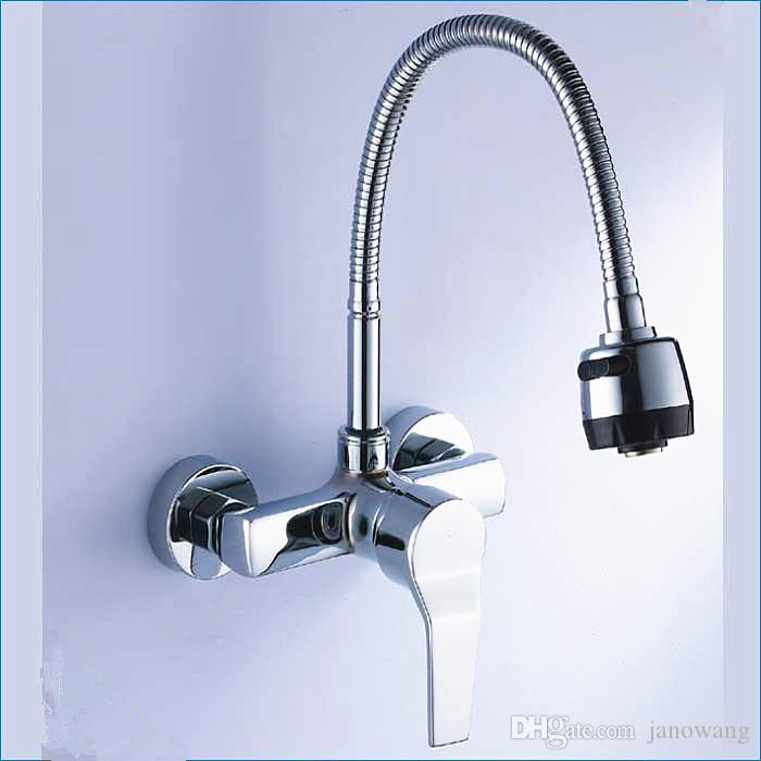 2018 Single Handle Wall Mount Kitchen Faucet With Sprayer,Universal Tube Kitchen  Faucet Sprinkler Head Modern,J14765 From Janowang, $58.66 | Dhgate.Com