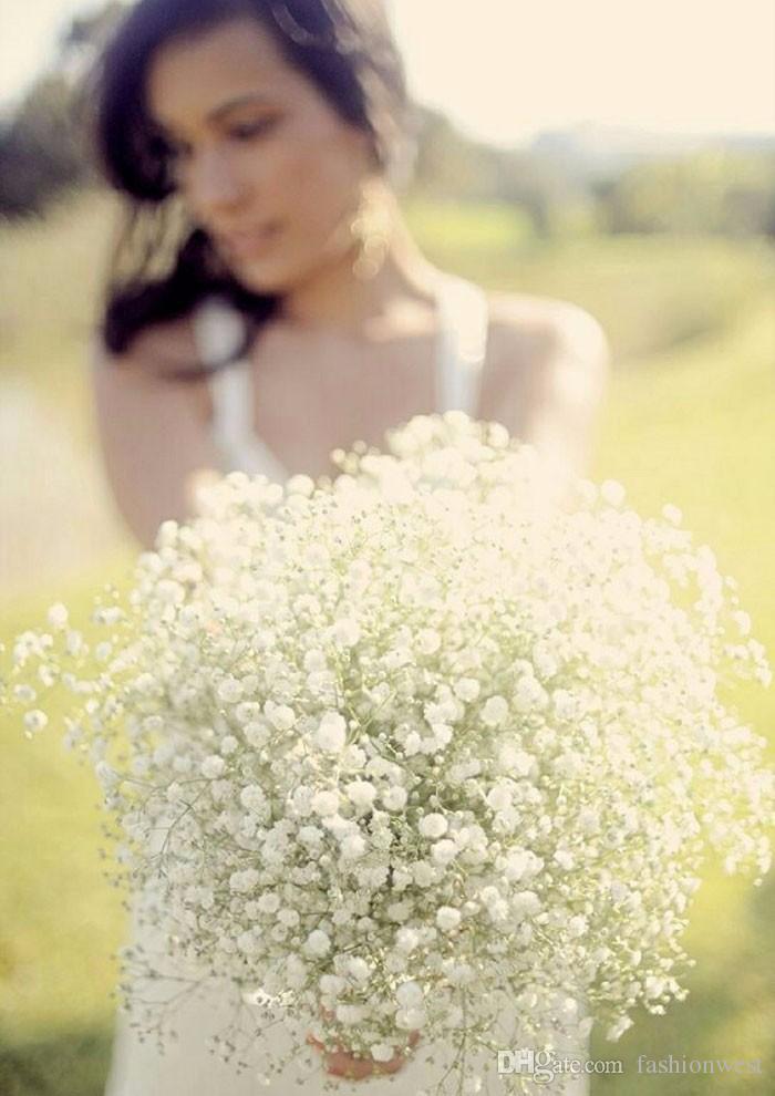 Einstecktuch Set 2016 neue Seide Babys Atem Braut Gypsophila Bouquet Hochzeit Blume Floral White Wedding Bouquet Braut Holding Blumensträuße