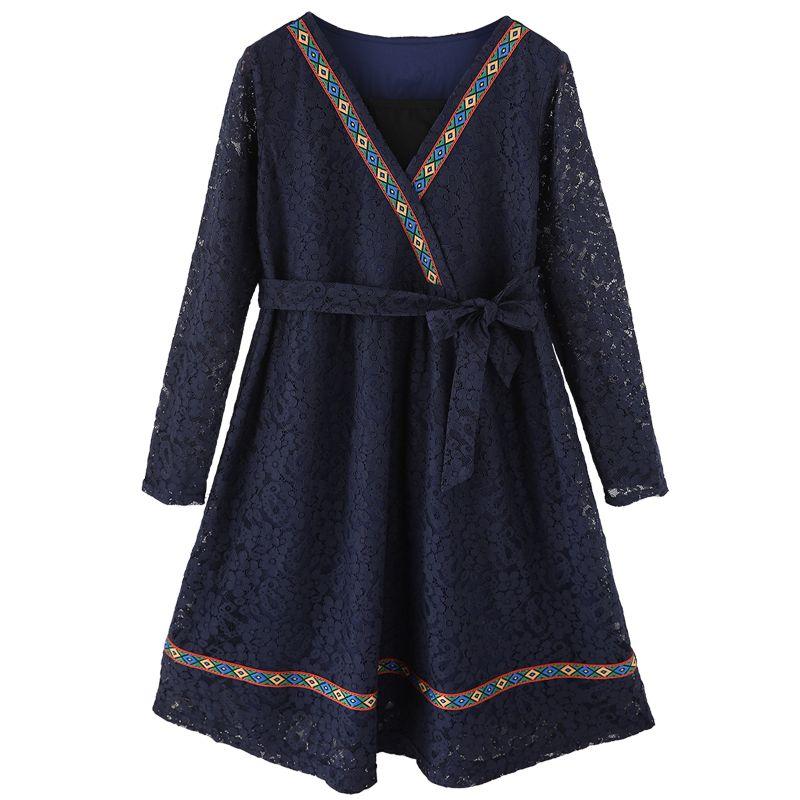 2017 new LOOSE glentwomen nation style Embroidery lady plus size slim XL 2XL 3XL 4XL 5XL loose dress winter coat