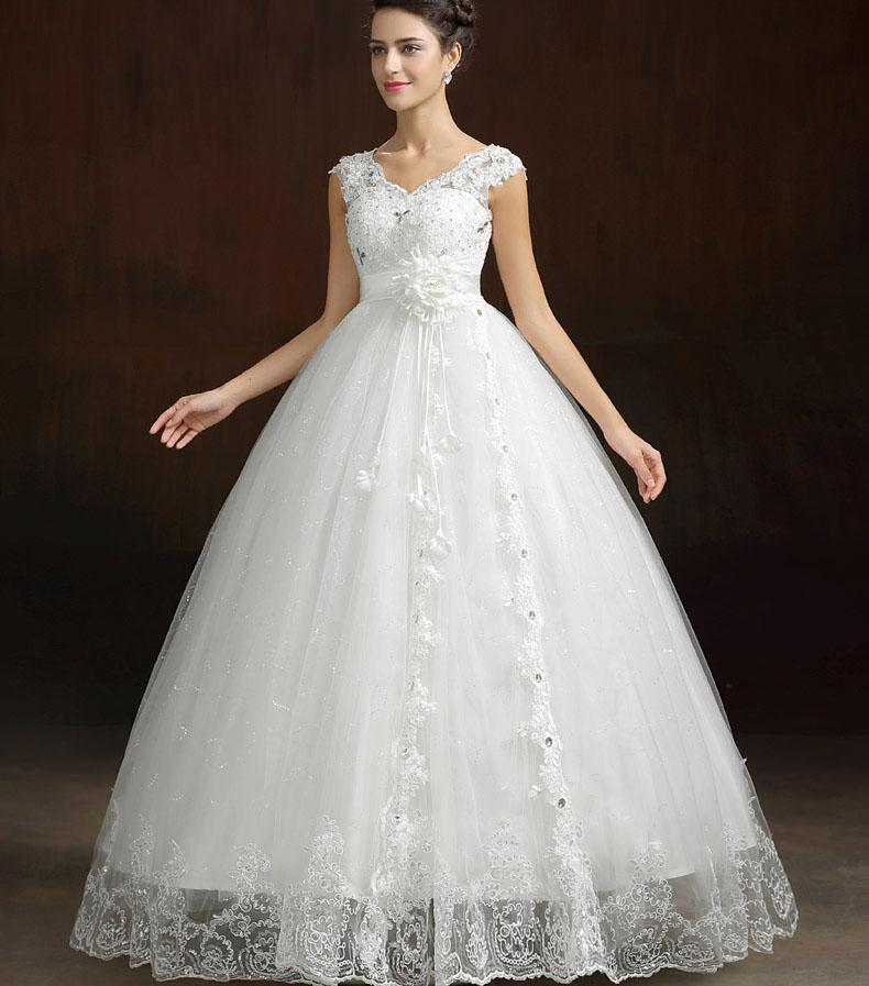 Empire Ball Gown Wedding Dresses: White Red Puffy Wedding Dresses Ball Gown V Neck Empire