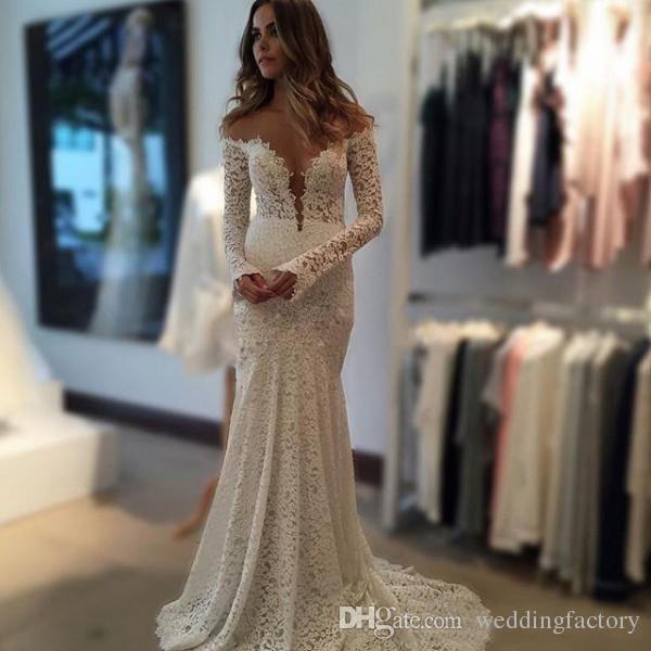 Élégant robes de mariée en dentelle équipée Sexy pure décolleté de l'épaule sirène manches longues robes de mariée dos nu tribunal train sur mesure