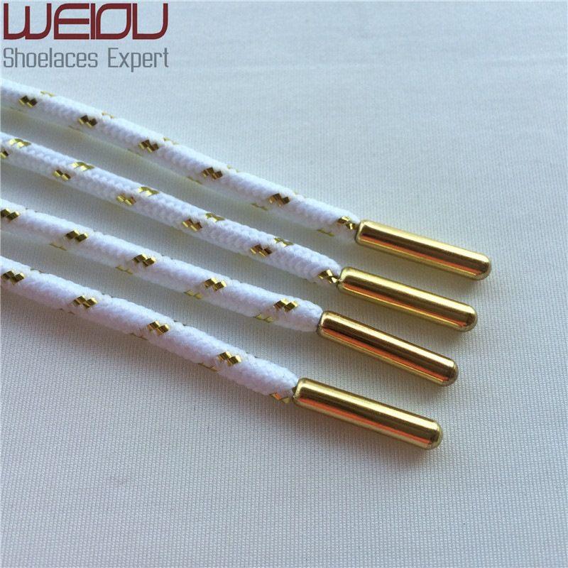 30 pares / lote Oficial Weiou Cool gold Sparkle Metallic Glitter Shoelaces cordones para zapatos Cordones deportivos para Latchet DHL ENVÍO GRATIS