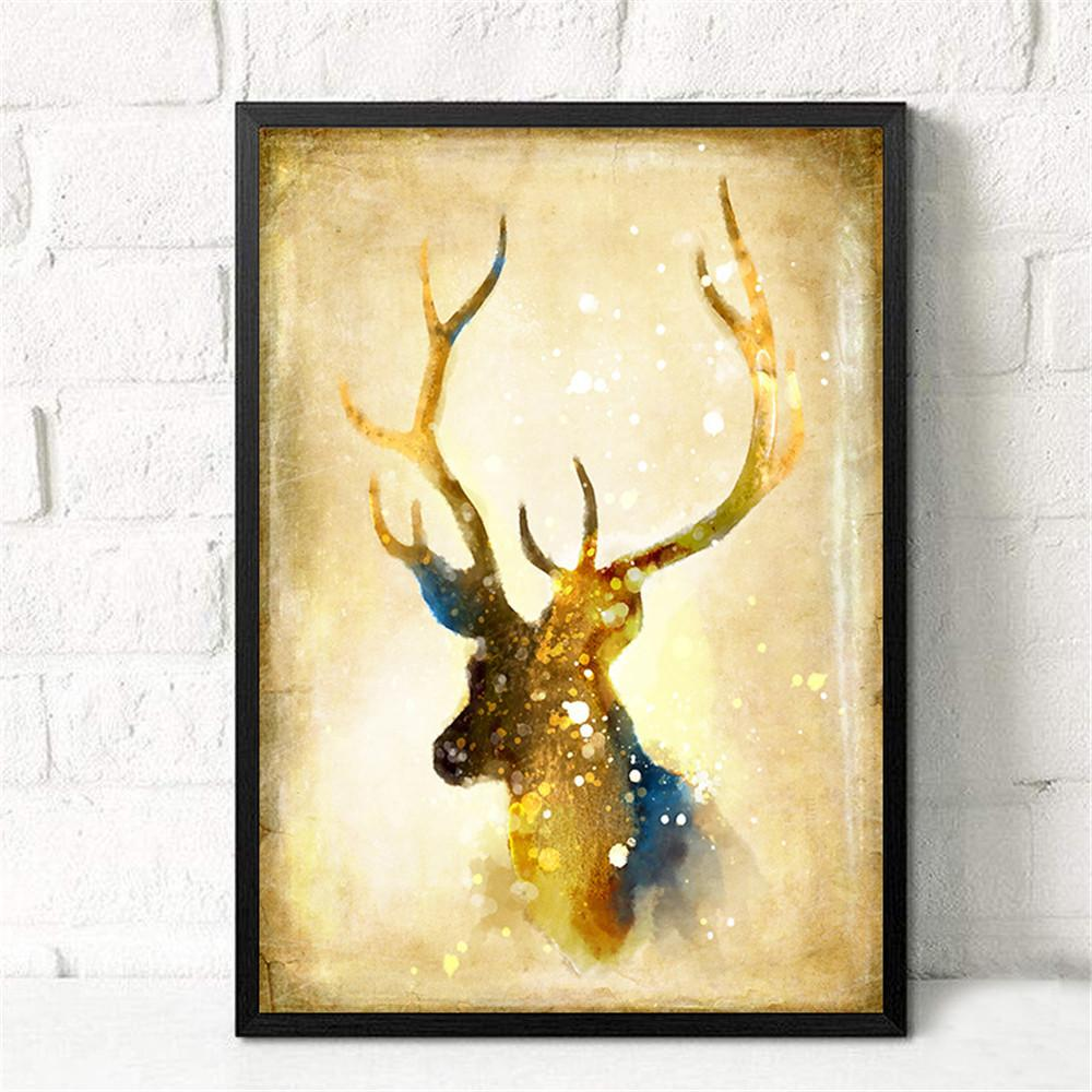 Modern Huge Wall Art Oil Painting On Canvas Amazing Nordic Elk ...