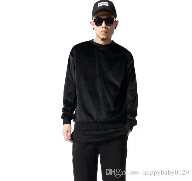 Hot 2016 Men Sweatshirt Hip Hop Streetwear Long Zipper Arc Cut Extended Velvet Hoodies Tyga Sportswear Black Kanye West Clothes