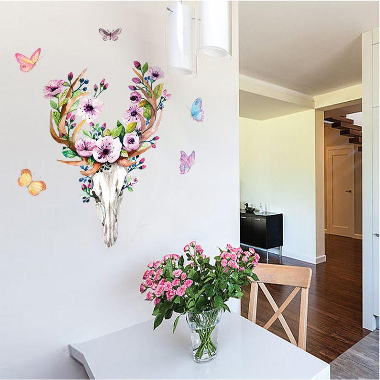 Flowers Elk Deer Wall Stickers Colorful Animals Head Wall Art Mural Posters Flowers Butterfly Wall Graphic DIY Home Decoration Wall Applique