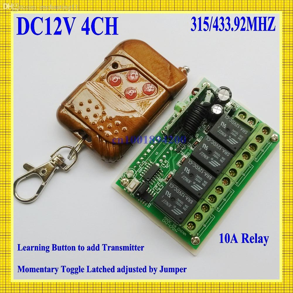 Wholesale Dc 12v 4 Ch Relay Rf Remote Control Switch Way Receiver Controls Transmitter 315 43392mhz Wireless For On Off Power Motorola