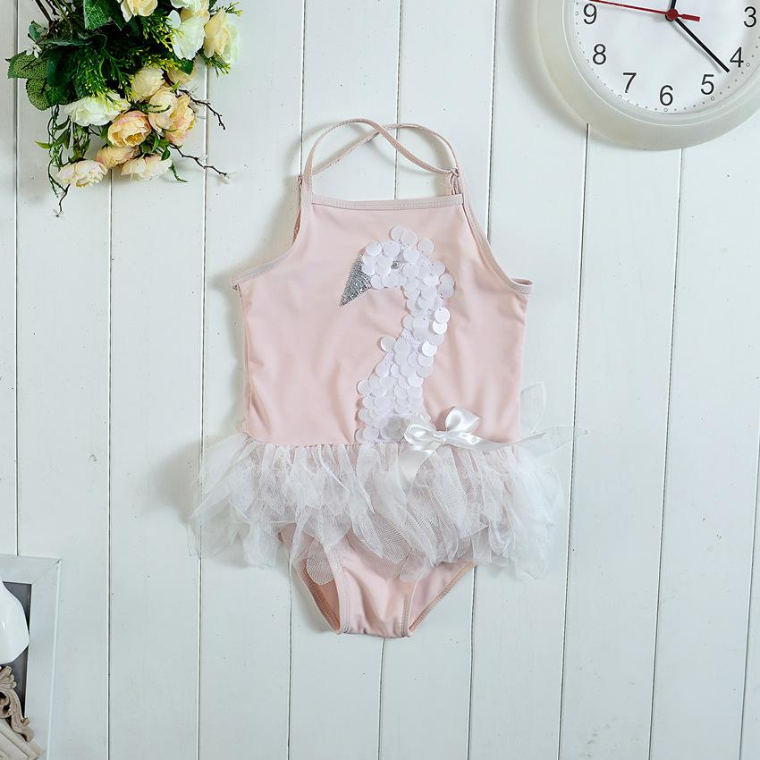2016 Flamingo Swan Baby Girls Swimwear Cartoon Lace Ruffle Kids