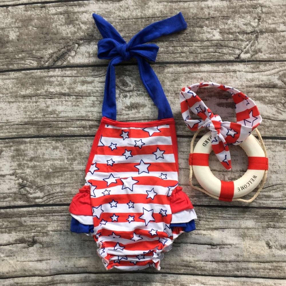 2017 2016 New Baby Girls Belt Red And Blue Star Print Romper ...