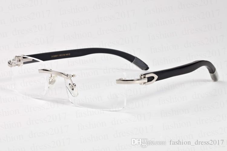 2017 lfashion diseñador de la marca gafas de sol de madera gafas de cuerno de búfalo sin montura marco de metal lente transparente populares gafas de sol polarizadas para unisex
