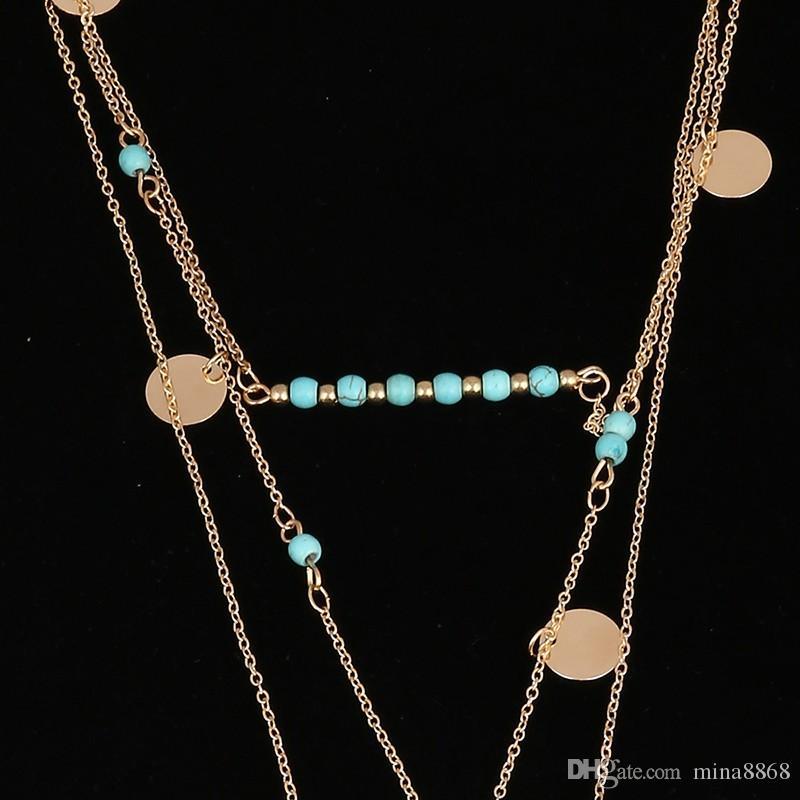 Bohemio joyería hecha a mano de la vendimia turquesa collares en capas de lentejuelas cadena de múltiples capas collar de cuentas de turquesa con pluma larga colgante