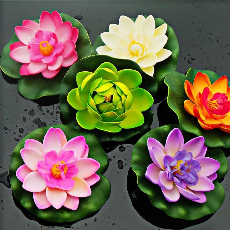 2019 10 X Artificial Pe Foam Lotus Flowers Water Lily Floating Pool