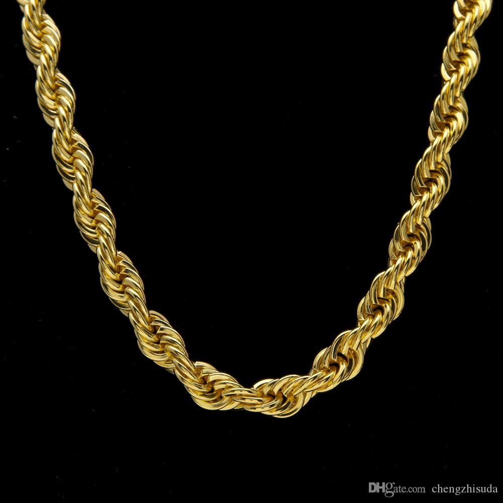 10mm dickes 76cm langes Seil verdrehte Kette 24K Gold überzogene Hip Hop verdrehte schwere Halskette für Männer