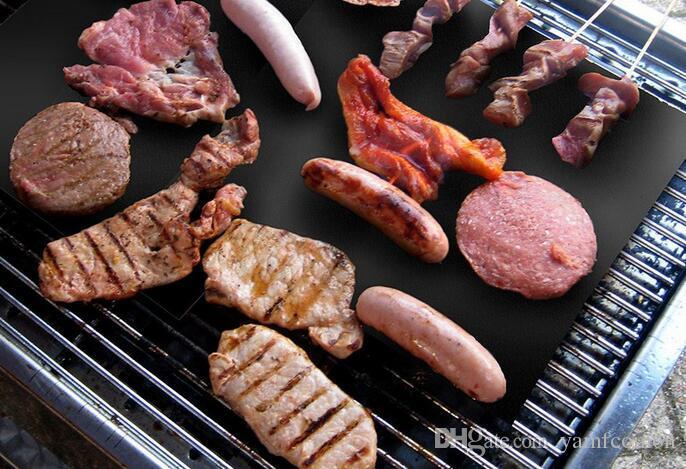 opp Beutel Barbecue Grillen Liner Teflon BBQ Grillmatte Tragbare Antihaft-und wiederverwendbare machen Grill einfach 33 * 40cm 0,2 mm schwarz Ofen Hotplate Mats