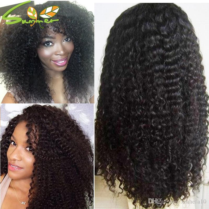 Cheap 180% Density Long Kinky Curly Full Lace Wig Virgin Mongolian Lace Front Wig Kinky Curly Human Hair Wigs For Black Women