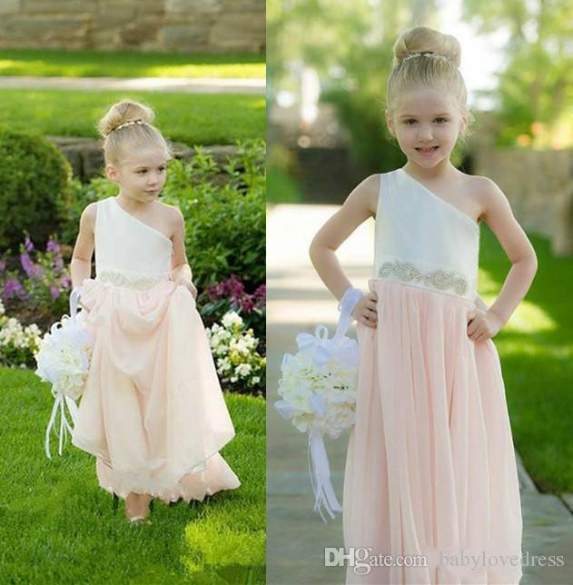 New arrival 2018 country flower girl dresses one shoulder beaded sash junior bridesmaid dress lovely party gowns
