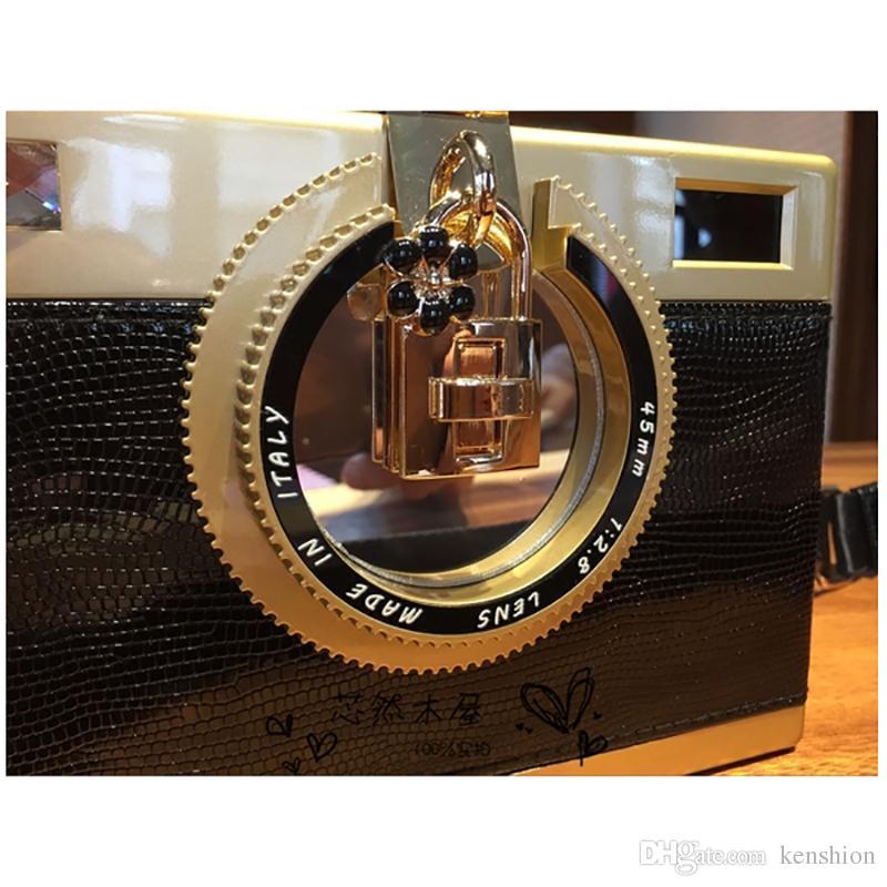 2017 personalize brand camera bags acrylic evening bag patchwork snakeskin stylish women kamera clutch camcorder strap messenger - XJB02