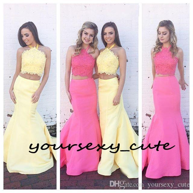 Two Piece Mermaid Prom Dresses Halter Lace Satin Beading Long Pink Yellow Blue Backless Teen Prom Dresses Evening Party Dresses Sweep Train