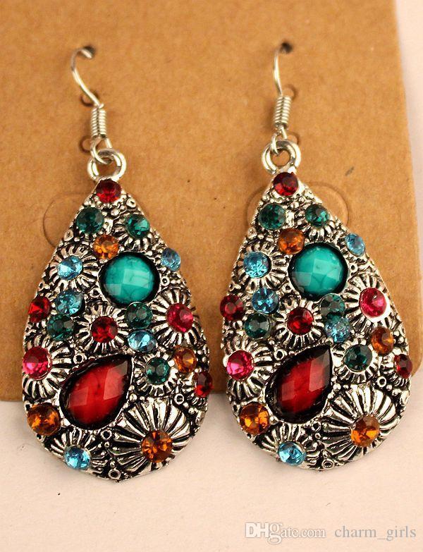 Brincos retrô vintage prata tibetana / bronze resina gem diamante brincos de jóias estilo folk misturado 20 estilo 209airs / lote