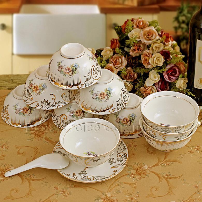 Porcelain dinnerware set bone china flower design embossed outline in gold dinnerware sets housewarming wedding gifts