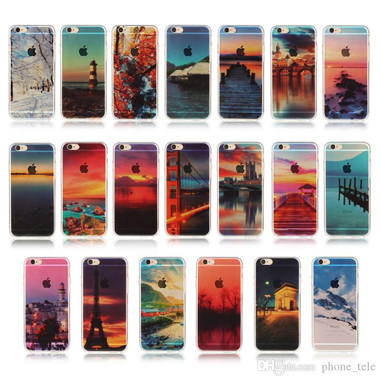 for iphone 7 case drawing scenery clear soft tpu cases river sea nature leaf grass sky back cover for iphone 7 6 6s plus 5 5s se iphone7 wholesale cell