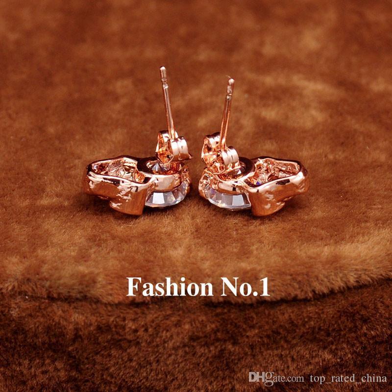 Новая мода женщины ювелирные изделия старинные серьги CZ Алмаз 18K позолоченный череп скелет очарование серьги