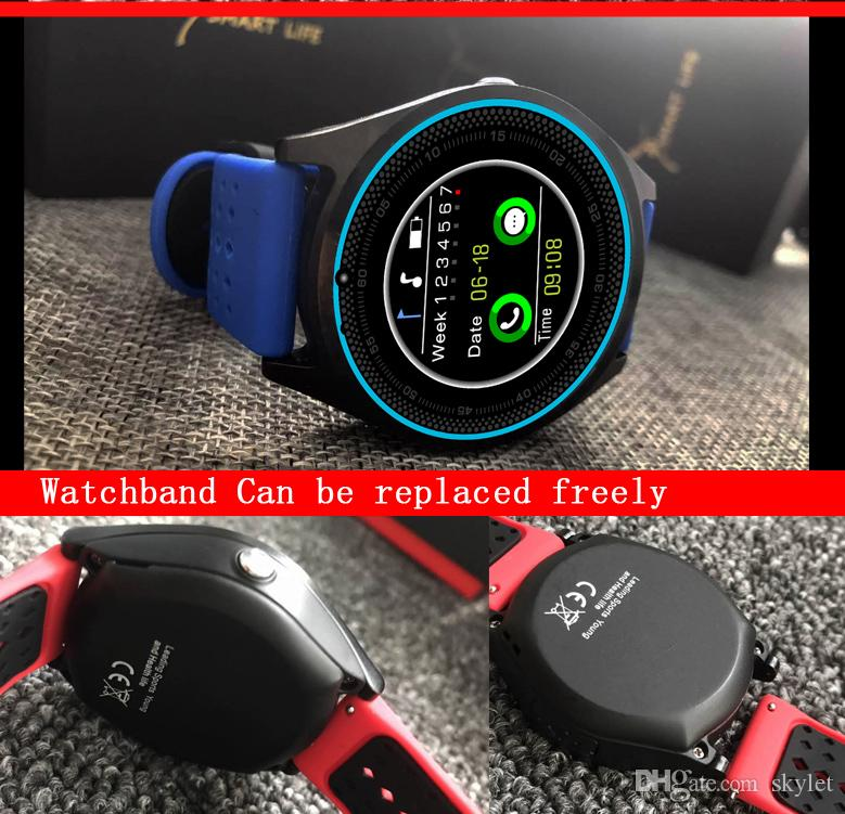 V9S Smart Watch Bluetooth Smart Bracelet with SIM Card Camera Fitness Tracker MTk6261 for Android IOS Cellphones in Retail Box