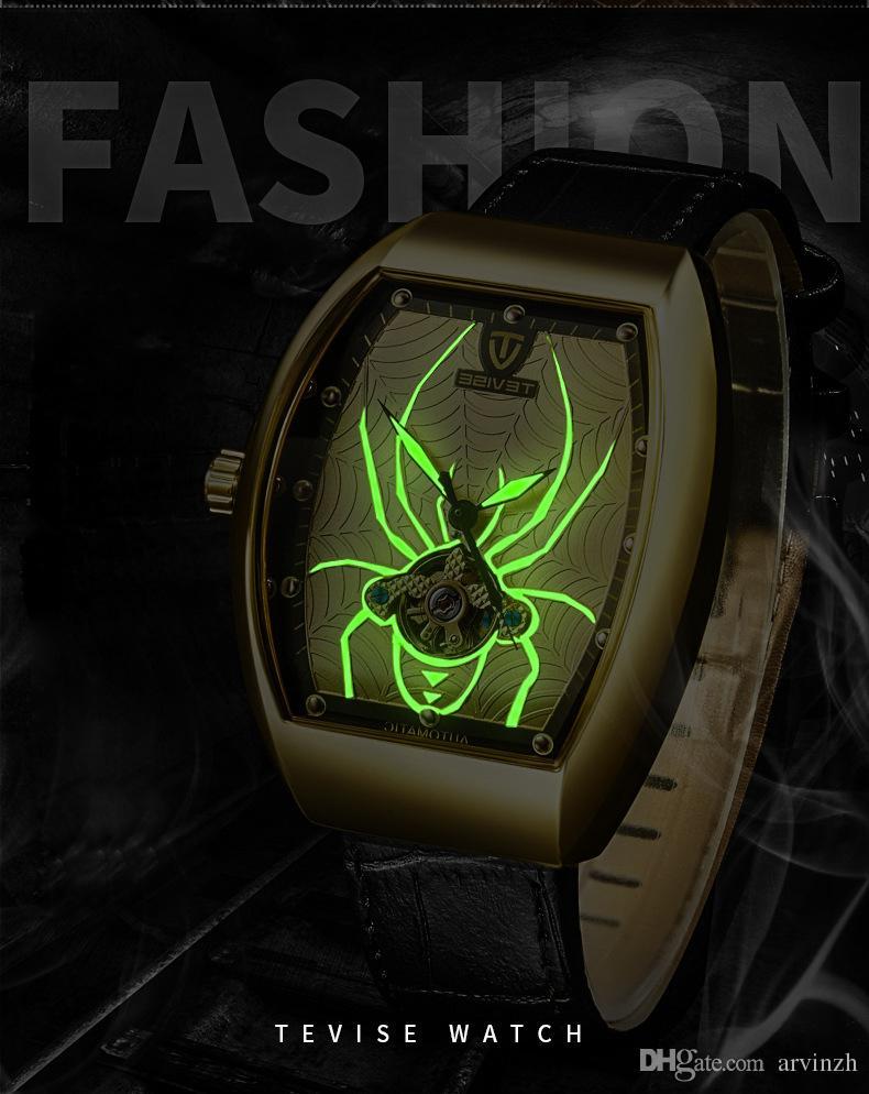 dc9116a4c14 Compre 2018 Homens Tonneau Relógio De Pulso Mecânico Automático Aranha  Luminosa Cinta De Couro Top Marca De Luxo Novo Relógio De Grife Masculino  Caixas De ...