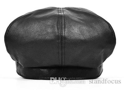 Stand Focus Mujeres Tachuelas de cuero sintético Cabby Baker Boy Gatsby Sombrero Gorro de vendedor de periódicos Moda para mujer Otoño Invierno Negro Marrón Elegante Fresco