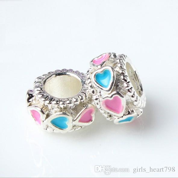 cea20c1e1 ... 2018 Enamel Round Beads Christmas Pink Blue Heart European Silver  Charms For Diy Fit Pandora Bracelets ...