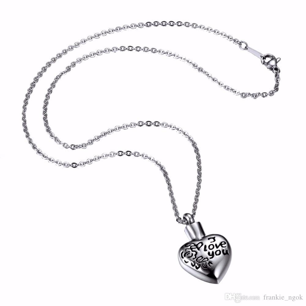 Edelstahl Memorial Schmuck Herz ich liebe dich Buchstaben Openabe Urne Anhänger Box Asche Medaillon Halskette Andenken Haustiere Urnen Kette Halskette