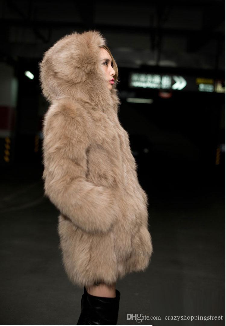 Inverno Nero Bianco Khaki Faux Fur Coat maniche lunghe con cappuccio lunghe giacche del partito di modo delle donne pista lunga Cappotti Top