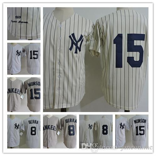18ced82114f ... Mens NEW YORK YANKEES 1973 15 Thurman Munson Throwback Cooperstown  Jersey 8 Yogi Berra 1969 NY ...