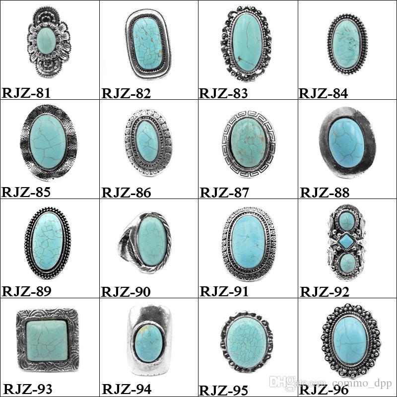Haute qualité turquoise anneaux 112 styles vintage Turquoise pierre naturelle anneaux de mode costume gemme Femalemale bague bijoux taille libre