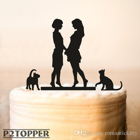 Lesbian With Cat Wedding Cake TopperSame Sex Wedding Cake Topper