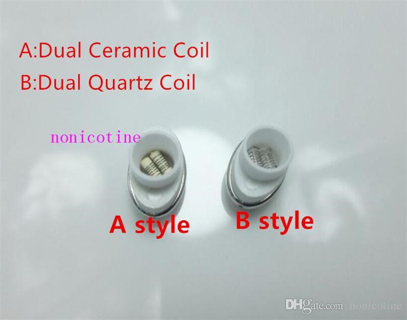 In stock Quartz Wax Ceramic Dual Coil Replacement Core Atomizer For Wax Vaporizer Pen Quartz Rod for Elips Cloud Pen micro g pen