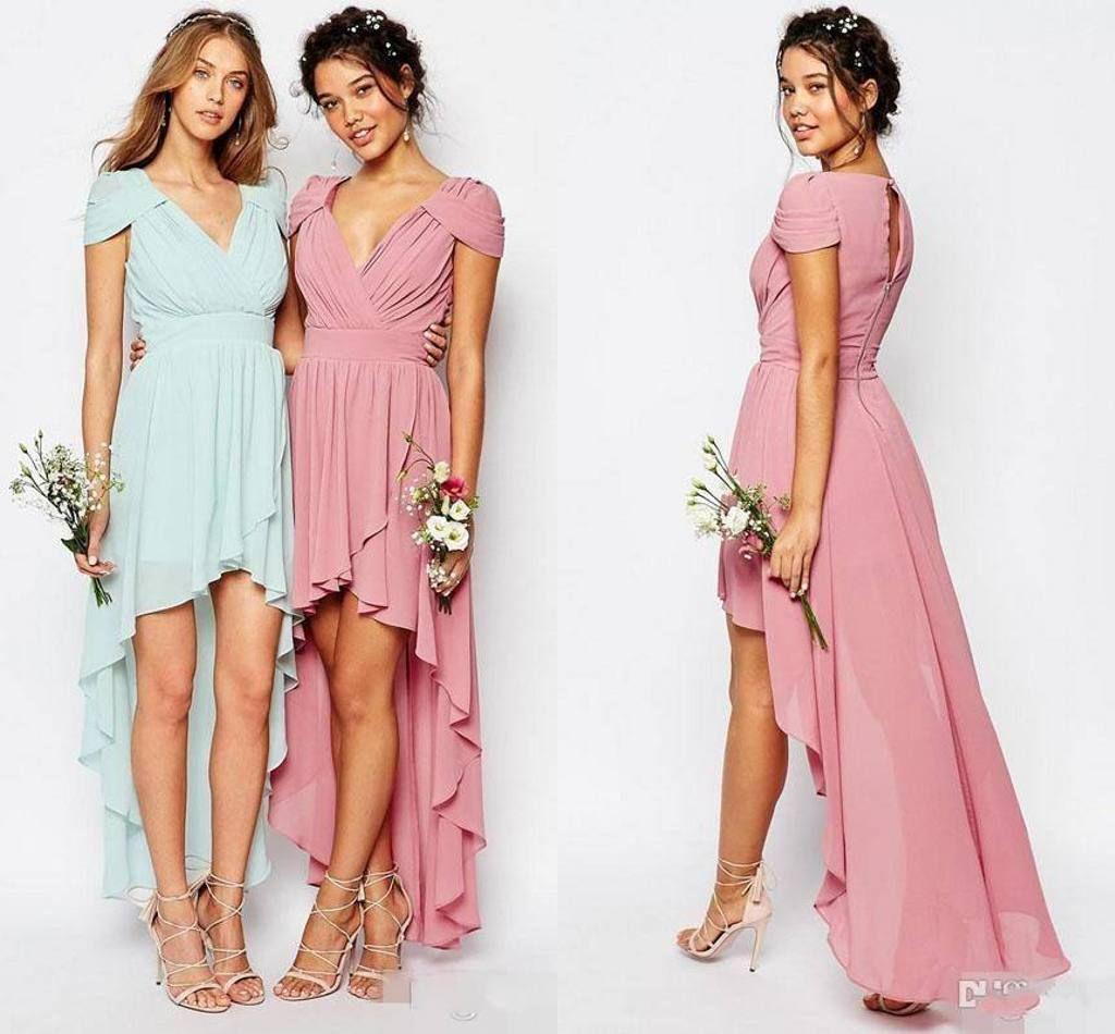 2017 Chiffon High Low Brautjungfernkleider Lila Pfirsich V-ausschnitt Ärmel Hochzeit Gast Kleid Reißverschluss Zurück Günstige Prom Formale Party Kleider