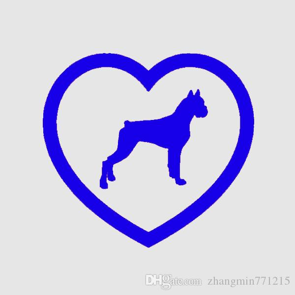 Wholesale Home Decorations Automobile and Motorcycle Vinyl Decal Car Glass window Stickers Jdm Boxer Heart Sticker Dog Puppy Love