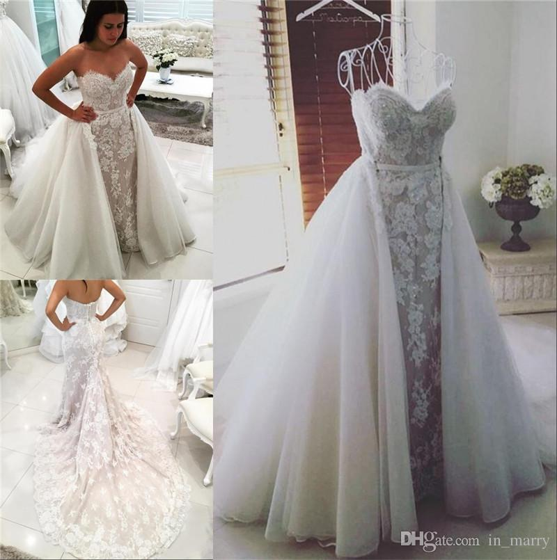 Retro Middle East Mermaid Overskirts Wedding Dresses Detachable Trains 2017 Trumpet Sweetheart Lace Low Back African Arabic Bridal Gowns Gown