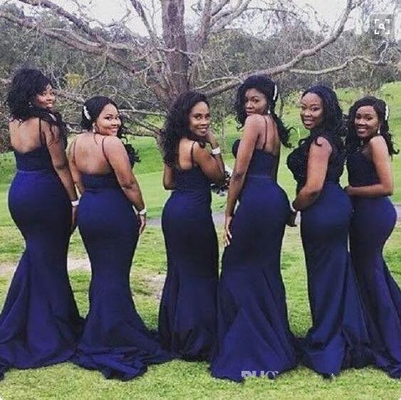 Robes de demoiselle d'honneur 2017 Nouveaux bretelles de spaghetti africaines bon marché Sirène pour Mariages Bleu Navy Blue Plus Taille Maid de femme d'honneur des robes de moins de 100 ans
