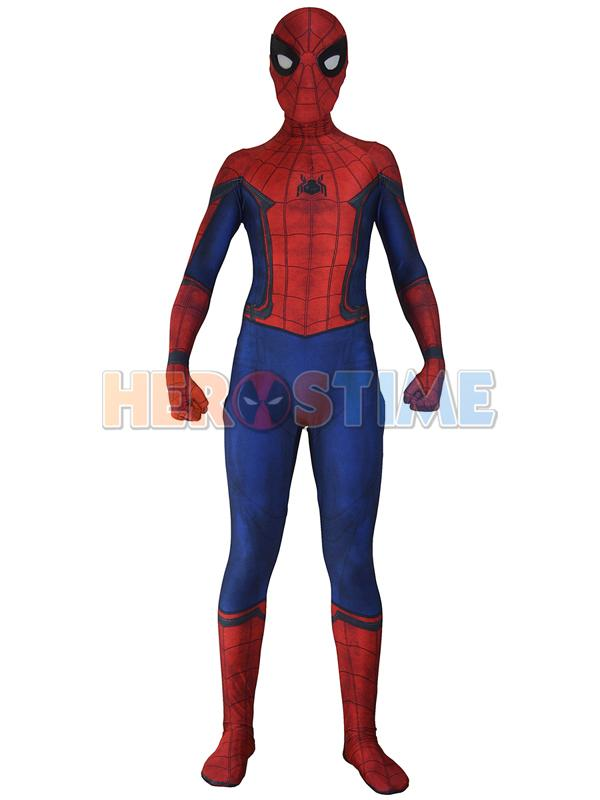2016 New Civil War Spiderman Costume 3D Shade Halloween Cosplay Spider-man Costume Fullbody Zentai Suit Hot Sale