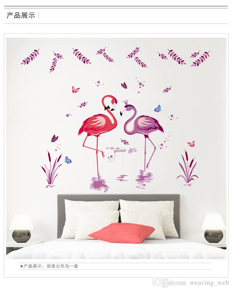 2016 Flamingo Love Stickers Romantic Birds Butterfly Leaves Removable mandarin duck Flamingo wall paper for bedroom decor