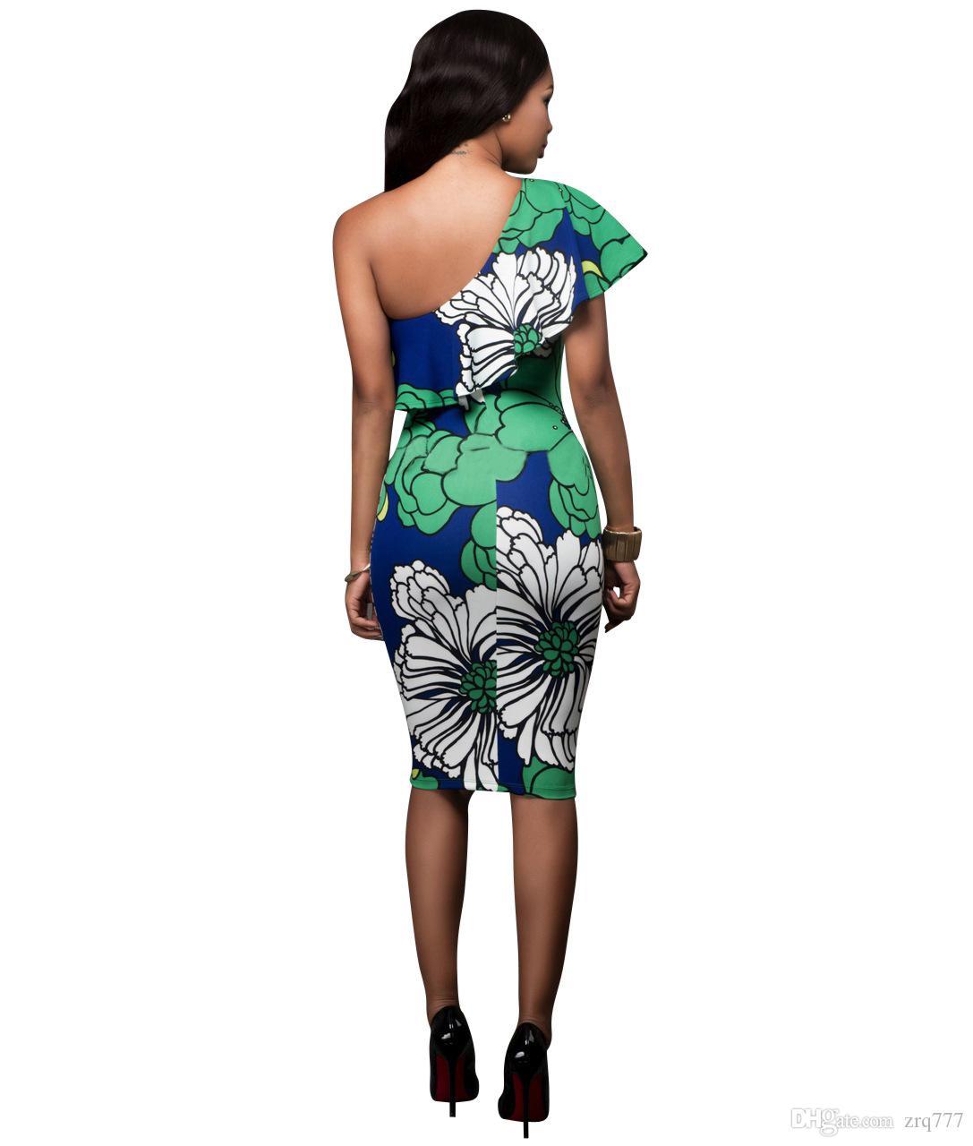 유럽과 미국의 인쇄 스커트 드레스 섹시한 비스듬한 어깨 붕대 드레스, flared 칼라 폴드 슬림 드레스, 미니 패키지 힙합 나이트 클럽