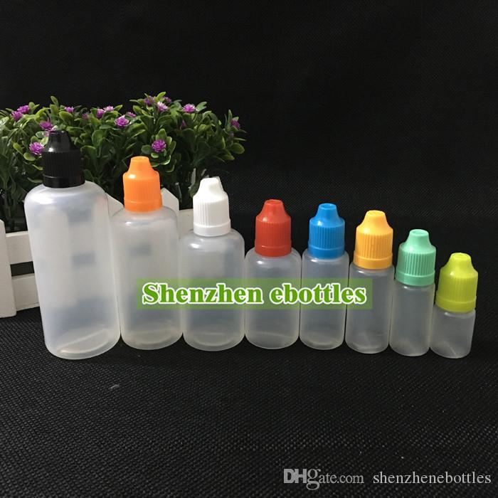 Alta qualidade garrafas vazias por atacado colorido Proof Criança Cap Garrafa Vazia 50ml Bottles E Líquido Plastic Conta-gotas com longos e finos Dicas