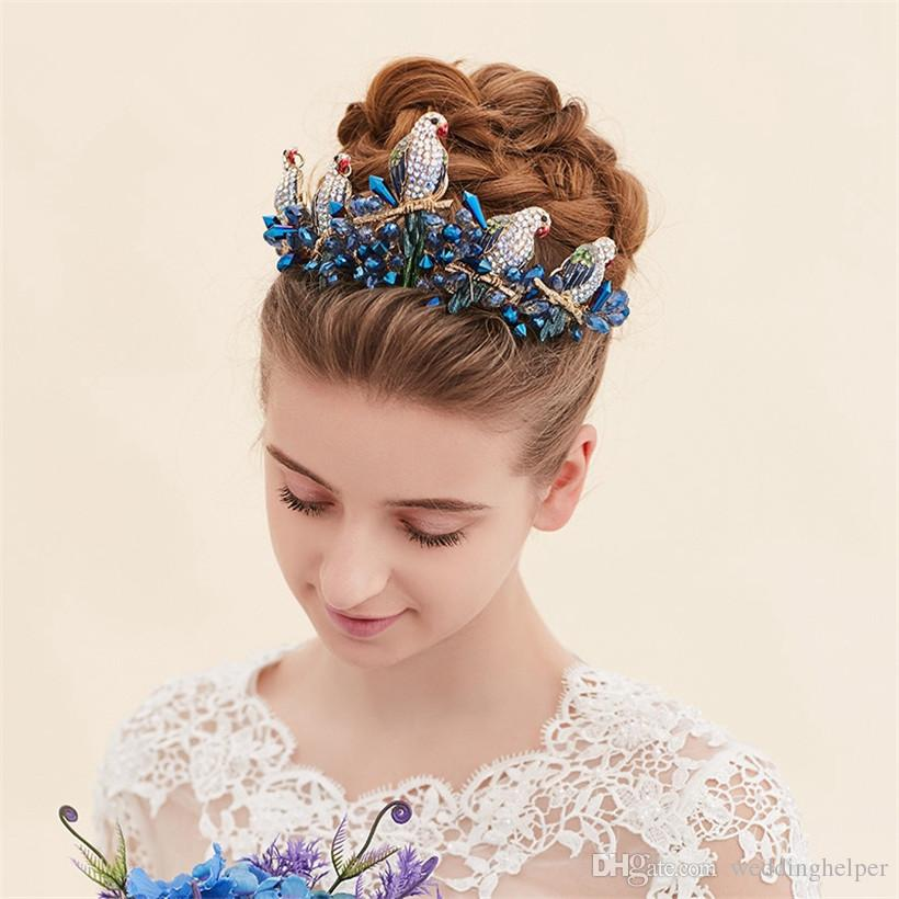 Vintage Wedding Bridal Crown Tiara Headpieces Blue Crystal