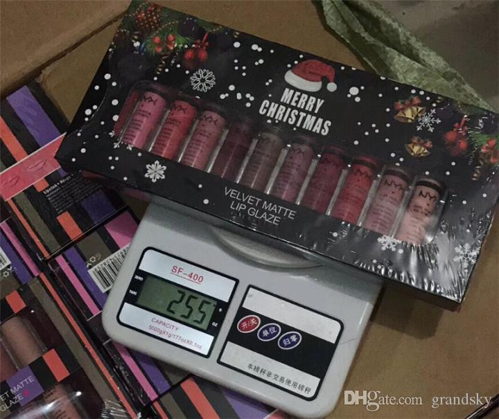 Brand New NYX Velvet Matte Lip Glaze Lipstick Merry Christmas Set 12 Shades Normal Edition Lip Gloss Set