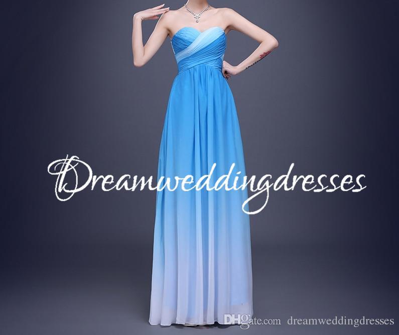Compre Cheap Ombre Azul Dama De Honor Vestidos De Pliegue Gradual ...