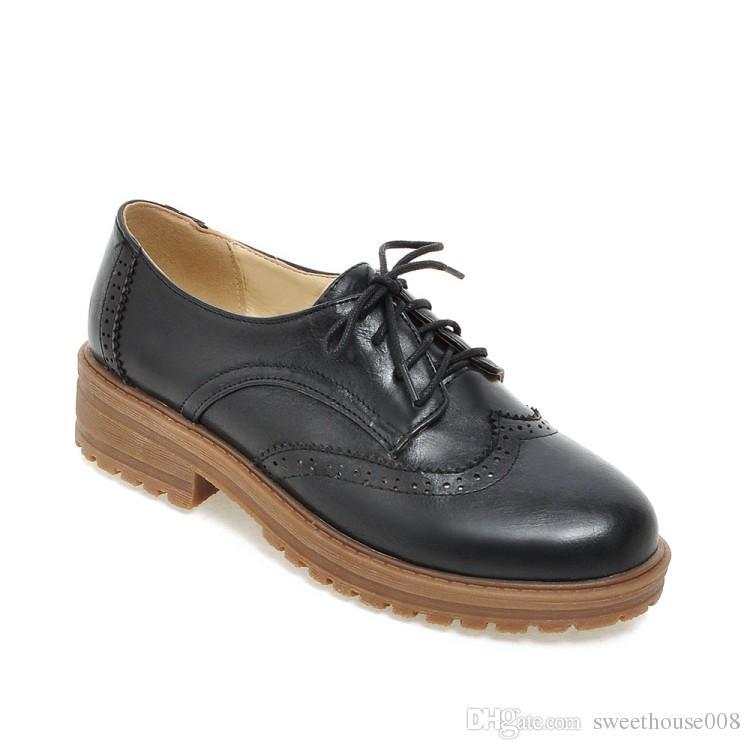 Punzonado Vintage Tamaño Casual Martenn Lace Zapatos Redonda Sole Brown 3 Toe Mujer Negro Pu A Posh Perforado Colores Marrón 34 Up Gris qwIHPw8